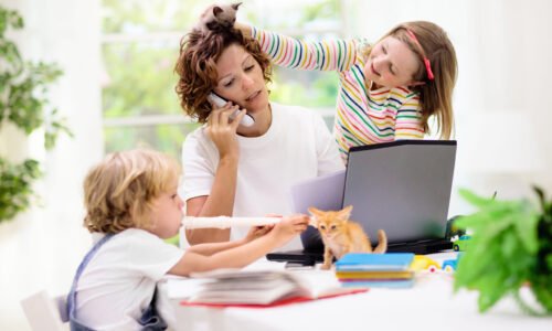 Mother,Working,From,Home,With,Kids.,Quarantine,And,Closed,School